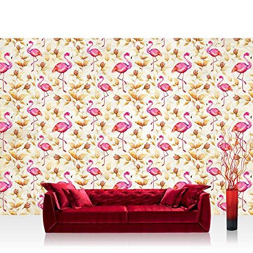 Fototapete 254x184 cm PREMIUM Wand Foto Tapete Wand Bild Papiertapete - Tiere Tapete Tier Flamingo Blätter Malerei Farbe pink - no. 1405