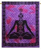 "Yoga Cotton Indian Wall Hanging Tapestry Full Size Purple Decor Throw 92"" X 82"""