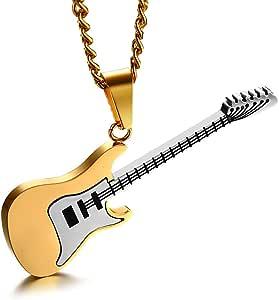 LUOEM, collana con ciondolo a forma di chitarra, in acciaio inox, da uomo (oro)
