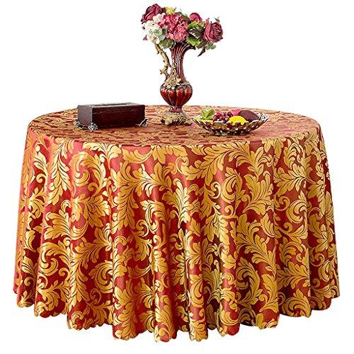 LULU LLH Hotel-Tischdecke, europäisches Gaststätte-Kaffee-Tischdecke, Konferenztischdecke, Polyester-Gewebe, rund, Durchmesser 94.48inch ZHUOB (Farbe : Weinrot)
