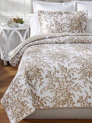 Laura Ashley Bedford Cotton Reversible Quilt, King, Mocha by Laura Ashley (Quilt Bedford)