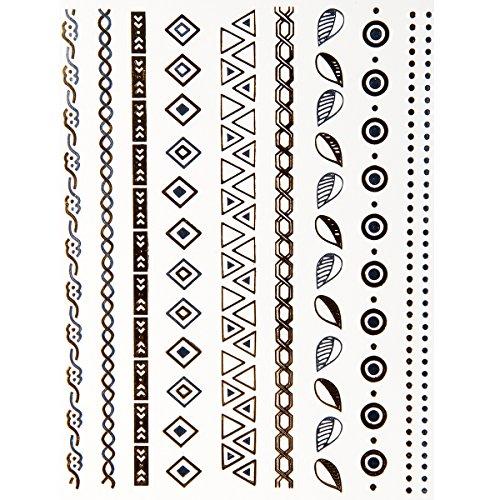 Jewelrywe Gioielli Oro e Argento Foil Tatuaggio Temporaneo Tattoo Style F