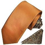 Paul Malone Kontrast Knoten Krawatten Set 2tlg modernes Design + Einstecktuch braun uni paisley