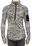 icyzone Damen Laufjacke Trainingsjacke 1/2 Zip Langarm Laufshirt im Winter (Athletic Grey, XL)