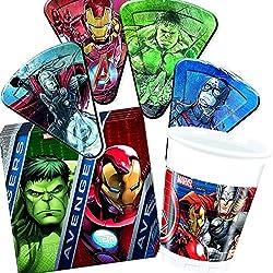 Procos/Carpeta 37-TLG. Party-Set * Avengers Assemble * mit Teller + Becher + Servietten + Deko | Motto Geburtstag Kinder Kindergeburtstag Marvel Hulk Iron Man Thor