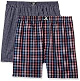 Hanes Men's Checkered Cotton Boxers  (Pack of 2) 8907686437361_P108-NR2-P2_Navy-Red Check 3)