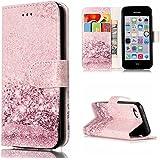 Funda iPhone 5C Case, Ecoway pintado patrón Mármol PU Leather Suave Funda Cierre Magnético soporte para teléfono Billetera con Tapa para Tarjetas Carcasa Para iPhone 5C - oro rosa
