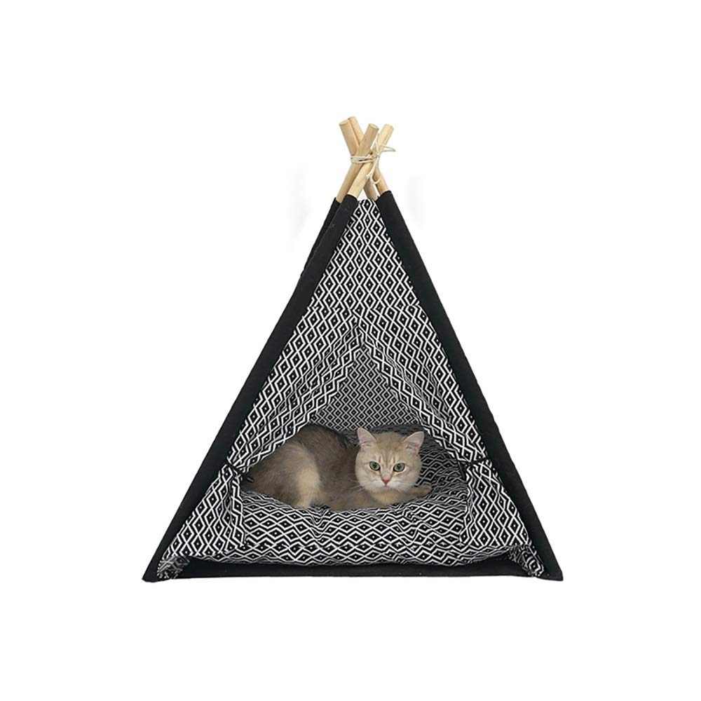 MMD-doggie kennel Comfortable 60 * 60 * 80cm,Summer Cat Litter Cat Toy Cat Climbing Frame Small Solid Wood Washable Cat Tent Nest Black Square Triangle Tent soft