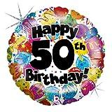 Betallic F86358P - Folienballon 18 Zoll - 50th Birthday, holografisch