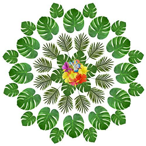 FEPITO 90 Stücke Künstliche Tropische Blätter für Hawaiian Party Dekorationen, künstliche Faux Tropische Palme Monstera Blätter Hibiscus Blumen für Aloha Dschungel Safari Geburtstag Tropical Luau Party Supplies Dekorationen