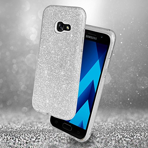 EGO ® Hülle Glitzer Schutzhülle für Samsung Galaxy A5 2017 A520, Gold Back Case Bumper Glänzend Transparente TPU Bling Weiche Glamour Handy Cover Lipgloss Silber