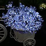 Candora™ Solar Halloween Christmas Holiday String Lights, 23ft 50 LED Solar Power Waterproof Peach Blossom Outdoor Decoration Lighting for Patio, Lawn, Garden, and Home Decoration Light Solar Lights [Energy Class A+++]