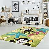 Kinderteppich Spielteppich Flachflor Kurzflor Tier-Design Affen Palmen Soft Grün Kinderzimmer Größe 160/230 cm