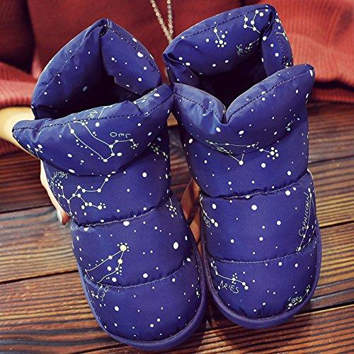 DogHaccd pantofole,Luce il lusso all-inclusive inverno uomini e donne matura con anti-slittamento interno casa bella calda felpa cotone mop Blu scuro2