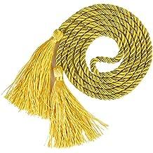 Un Par de Abrazaderas Cuerdas de Cortinas con Borla (Amarillo + Oro)