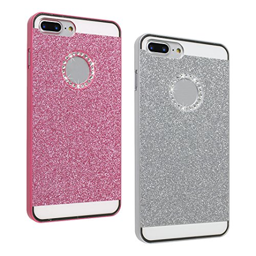 2 PCS iPhone 8 Plus/ iPhone 8 Plus Hülle Glitzer, iPhone 7 Plus Hard Glitzer Case, iPhone 8 Plus Hard Glitzer Case, Moon mood® Ultra Slim Thin 3D Bling Strass Hülle Hart Bling Gliter Handytasche Krist 2 PCS 5