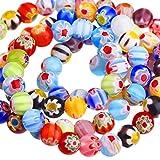 Sumind 200 Stück 6 mm Millefiori Glas Runde Perlen mit Einzel Blume für Schmuckherstellung Handwerk DIY Perlen Lieferungen, 6 mm Durchmesser