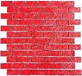 Mosaik Fliese Quarz Komposit Kunststein Brick Artificial rot für BODEN WAND BAD WC DUSCHE KÜCHE FLIESENSPIEGEL THEKENVERKLEIDUNG BADEWANNENVERKLEIDUNG Mosaikmatte Mosaikplatte