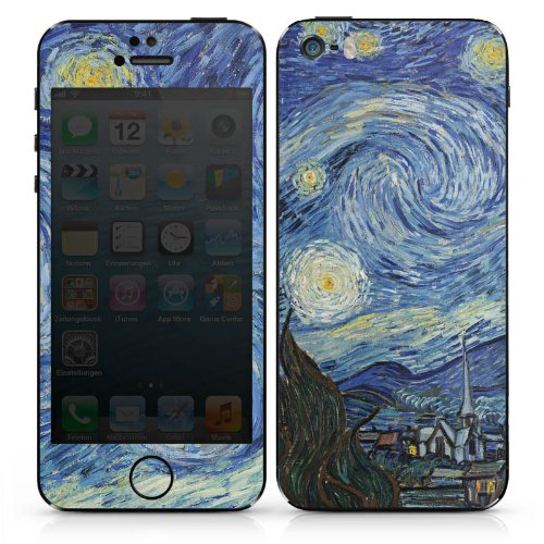Apple iPhone SE Case Skin Sticker aus Vinyl-Folie Aufkleber Vincent van Gogh The Starry Night Kunst DesignSkins® glänzend