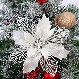 Hava Kolari 5pcs Weihnachtsblume, Künstliche Blumen Weihnachtsbaumdekoration Weihnachtsbaum Blume Deko Weihnachtsdekoration Ornamente (Weiß)
