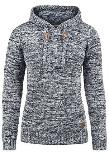DESIRES Philla Damen Winter Strickpullover Troyer Grobstrick Pullover mit Kapuze, Größe:XL, Farbe:Insignia Blue (1991)