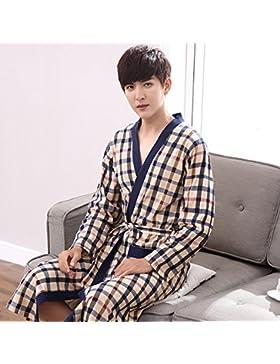 Mangeoo Pijamas de Manga Larga en Primavera y otoño, Pijamas de Mediana Edad y Edad de los Hombres, Kimono de...