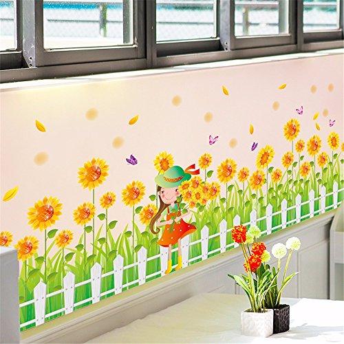 ALLDOLWEGE Home Decor personalisierte Tapetensticker Plakate sonnenblume Mädchen Kindergarten Kinder Zimmer Wänden Ecke fries Sockelleisten sind, 50 * 70 CM