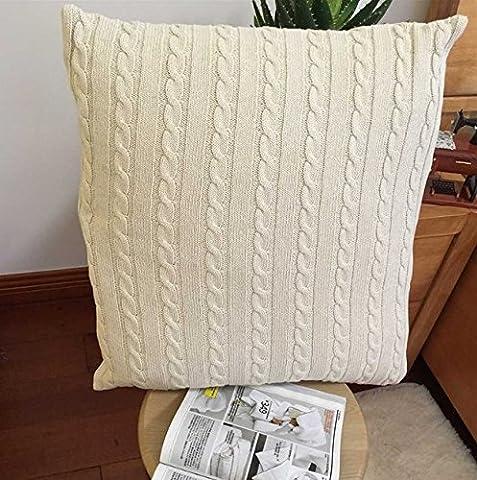 Beddingleer Cushion Cover Cable Knit Cotton 45 X 45 CM (18'' X 18'')Pillow Case 1pcs(Beige)