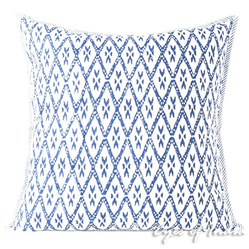 Eyes of India - schwarz Blockdruck Überwurf Sofa Sofa Dekoratives Kissenbezug Boho Indische Böhmisch - Blau, 24 X 24 in. (60 X 60 cm) (Dekorative Kissenbezug Blau)