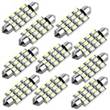 10 Lampe Ampoule 16 SMD LEDs Blanc 42mm pr Voiture Dôme Festoon...