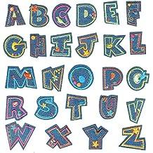 26 Piezas de Tela de Mezclilla de la Letra del Alfabeto Ropa Bricolaje Parches Coser en
