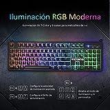 VICTSING Teclado Gaming Español, Mecánico-Similar Teclado, 12 Teclas MultimediaImpermeable con 6 Colors RGB Retroiluminado y Anti-Ghosting, para PC/Ordenador portátil/Escritorio/Computadora-Negro