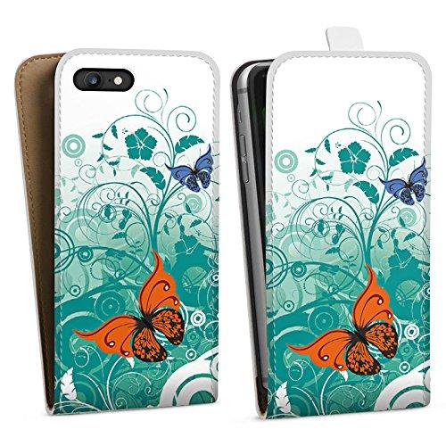 Apple iPhone X Silikon Hülle Case Schutzhülle Schmetterling Blume Ornament Downflip Tasche weiß