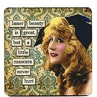 Belleza interior es grande, pero un poco Mascara nunca Hurt. Retro Humor único taza posavasos