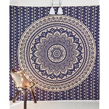 Snakell Blanc Dor/é Mandala Tentures Murales Indiennes//Dor/é Tapisserie Mandala Hippie//Psychedelique Bohemian Rideaux Orientale Decorations//