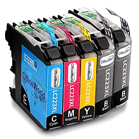 OfficeWorld Compatible Ink Cartridges Replacement for Brother LC223 XL Compatible with Latest Chips for Brother MFC-J680DW MFC-J5620DW DCP-J562DW DCP-J4120DW MFC-J4420DW MFC-J4620DW MFC-J5320DW MFC-J480DW J880DW J4625DW J5625DW J5720DW (2 Black,1 Cyan,1 Magenta,1 Yellow)