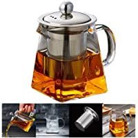 PluieSoleil Glass Teapot 350 ml Teapot for One with Heat Resistant Stainless Steel Infuser Perfect for Tea and Coffee…