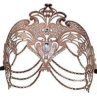 Máscara de carnaval, máscara de carnaval de halloween Máscara de carnaval de metal cortado con láser (oro rosa)