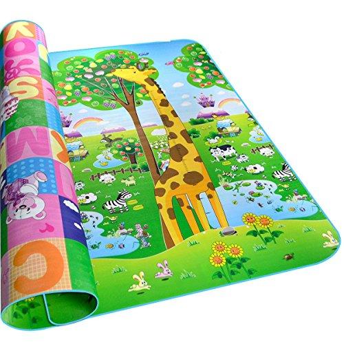 Hblife tappeto ripiegabile con animali tappetino gioco per bambini gioco doppia faccia impermeabile grande per casa e all'aperto 200 * 180cm