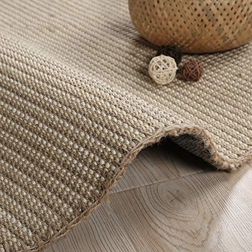 Sisal Teppich, Gewebte grenzt Natürliche Faser-Kollektion Zeitgenössische sisalwolldecke Weich Schmutzabweisend Pflegeleicht Tee Zimmer Teppich-E 60x120cm(24x47inch) -