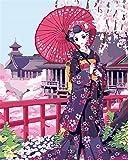 CaptainCrafts Nouvelle Peinture par numéros 16x20 pour Les Adultes, Enfants Toile - Kimono Tentation, Femme Japonaise (sans Cadre)