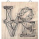 Kit String Art modèle Love forme carré en bois brut 22 x 22 cm pour la déco DIY