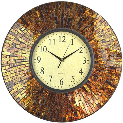 "LuLu Decor, 19"" Baltic Amber Mosaic Wall Clock, Brown Arabic Glass Dial, 4.50"" Mosaic Border, Dial 9"", Silent Non-ticking Quartz, Perfect for Housewarming Gift (LP72)"