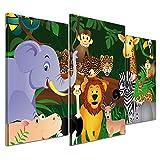Kunstdruck - Kinderbild Wilde Tiere im Dschungel Cartoon - Bild auf Leinwand - 100x60 cm 3 teilig - Leinwandbilder - Kinder - Regenwald - Urwald - abenteuerlich