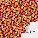 creatisto Mosaik Fliesensticker| Fliesenaufkleber zur Wandgestaltung | Selbstklebende Fliesenbilder - Küchenfliesen und Badezimmer-Fliesen renovieren | 10x10 cm - Mosaik Rot-Orange - 9 Stück