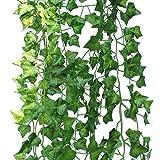 Binen 12 Stück Künstliche grüne Lvy Rebe Blätter Girlande Pflanzen Fake Laub Blatt Blumen Hanging Rebe Pflanze Hochzeit Party Garten Wand Party Dekor Home Ornament