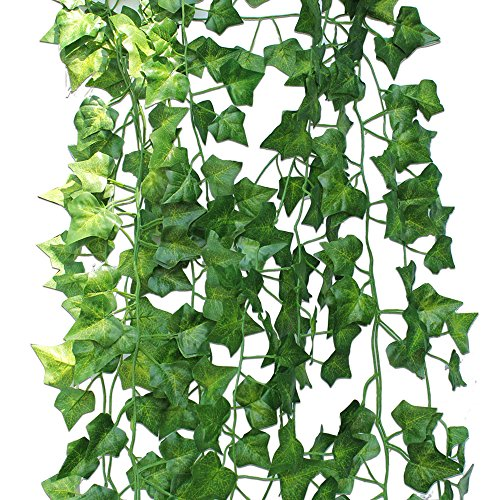 Binen 12 Packs Artificial Ivy Hanging Vine Plant Leaves Garland Plants Fake Foliage Leaf Flowers Wedding Party Garden Wall Party Decor Home Ornament
