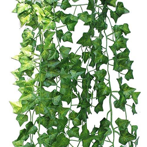 stliche grüne Lvy Rebe Blätter Girlande Pflanzen Fake Laub Blatt Blumen Hanging Rebe Pflanze Hochzeit Party Garten Wand Party Dekor Home Ornament (Fake-efeu-blätter)