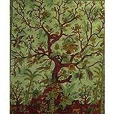 Handicrunch Tagesdecke Lebensbaum hellgrün 235x205cm bunte Vögel Blumen Indische Decke Katoen Tie Dye Style