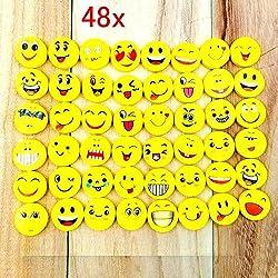 JZK 48 x Emoji emoticon lápiz gomas borrar lindos regalos para fiesta cumpleaños niños festival año nuevo navidad regalo juguete